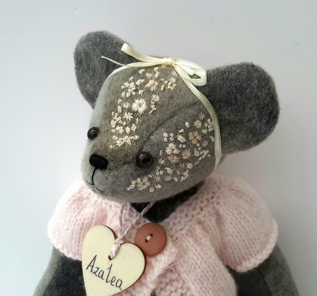 Azalea,Hand Embroidered Alpaca Artist Bear,Handmade Collectable by Bearlescent