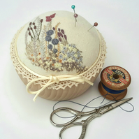 Hand Embroidered Pincushion, Pin Cushion in wooden bowl, Floral Hand Embroidery