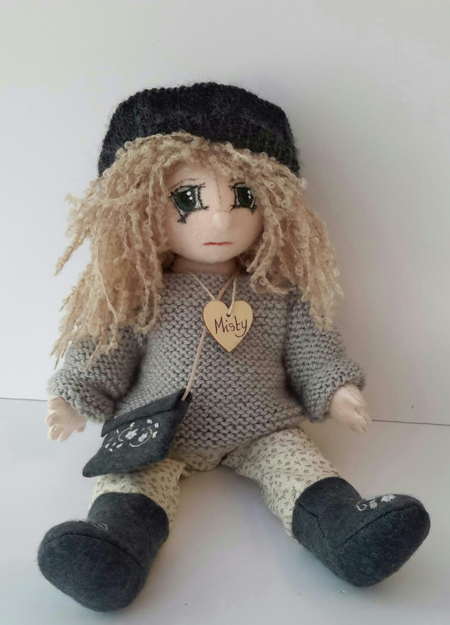 "Misty, 13"" Collectable Doll, Handmade Cloth Doll,OOAK Fabric doll by Bearlescent"
