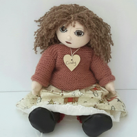 Handmade Collectable Cloth Doll, Christmas Doll, Cindy by Bearlescent