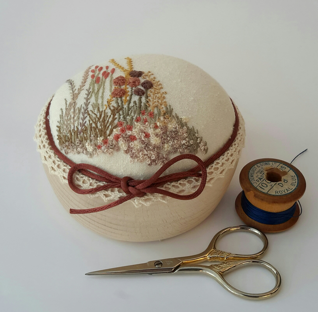 Pincushion, Hand Embroidered Autumn Pin Cushion, Hand Sewn Gift by Bearlescent