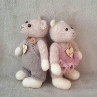 Milo and Moo, Hand knitted Mice, a pair of Dressed Mice knitted by Bearlescent