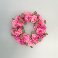 Pink Paper Rose Wreath