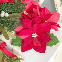 3 piece Red Paper Poinsettia