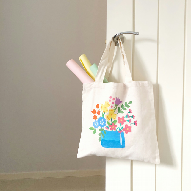 Handpainted Floral Tote Bags - Flowers in a Pot