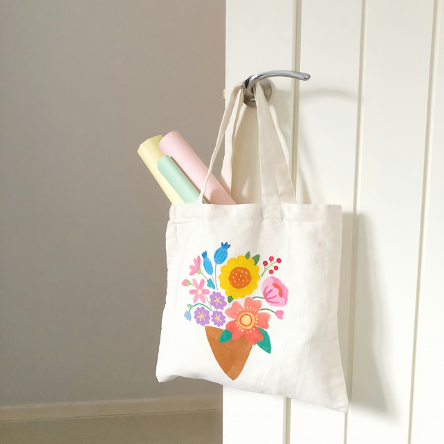 Handpainted Floral Tote Bag - Flowers in a Cone