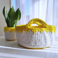 Yellow & White Two Handled Nursery Crochet Storage Basket - Wide (30cm)