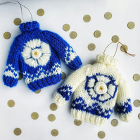 Hand Knitted Yorkshire White Rose Mini Jumper Hanging Decoration