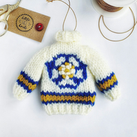 Hand Knitted Leeds Colours and White Rose Mini Jumper Hanging Decoration
