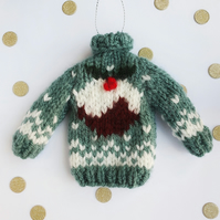 Christmas Pudding Mini Knitted Jumper Hanging Decoration - Choice of colours