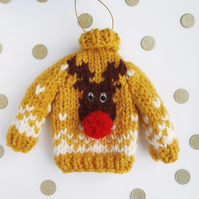 Pompom Rudolph Mini Knitted Jumper Hanging Decoration - Choice of colours