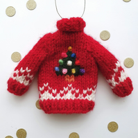 Mini Knitted Christmas Tree Jumper Hanging Decoration - Choice of colours