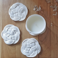 Cream & gold macrame knot coasters made from premium cotton cord (Set of 2 or 4)