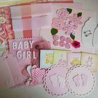 Baby Girl Embellishments - Pink - Craft Kit - Scrapbooking - Cards