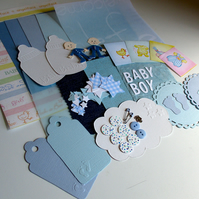 Baby Boy Embellishments - Craft Kit - Blue - Card Making - Journals