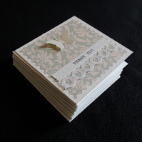 Pack of 10 Mini Thank You Cards - Butterfly and Lace - Notecards - Tags