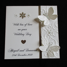 Sparkly Snowflake Butterfly Winter Wedding Card - Personalised - Congratulations