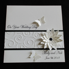 Personalised Wedding Card - Sparkly Floral Butterfly - Congratulations
