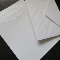 White Embossed HELLO Writing Paper Set  - 15 Pieces - Envelopes