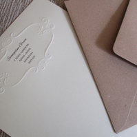 Embossed Personalised Writing Paper Set - 15 Pieces - Elegant - Ivory - Cream