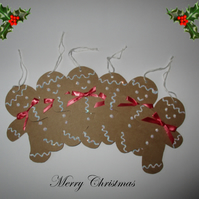 Sparkly Gingerbread Men Tags - Set of 6 - Decorations - Handmade