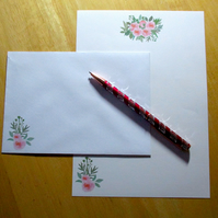 Pink Roses Writing Paper Set - 15 pieces - Optional Personalisation - Stationery