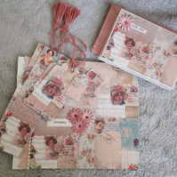 Vintage Romantic Stationery Set - Notebook - Notecards - Tags - Bookmarks