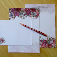 Floral Border Writing Paper Set - 15 Pieces -  Personalised Option - Stationery