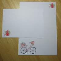 Floral Bicycle Writing Paper Set - 15 Pieces - Optional Personalisation
