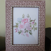 Pink Lace Photo Frame with Roses Print - Pearl Trim - Crochet Lace - Romantic