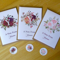 Floral Personalised Notelets x 6  with kraft envelopes and stickers - notecards