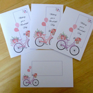 Floral Bicycle Notelets x 6 with Envelopes - optional customisation