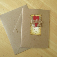 Folk Heart Love Cards x 3 with Envelopes - Collage - Notecards - Greeting Cards