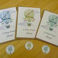 Hot Air Balloon Notelet Set x 6 with Envelopes and Stickers - Personalised