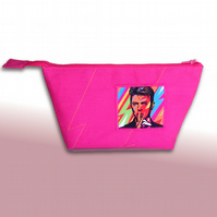 Pink David Bowie wide zipped pouch, small make-up bag