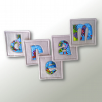 'DREAM' coasters – set of 5 fabric drinks coasters