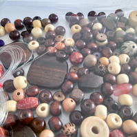 A mix of Natural Wooden Beads