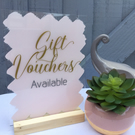 Acrylic SIGN Gift Vouchers 15x20cm A5 swirls font beauty salon spa nail bar shop