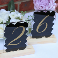 Acrylic sign wedding TABLE NUMBERS 10x15cm A6 swirls font restaurant dining room