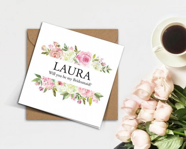 Personalised pink & white ROSES frame, blush flowers Bridesmaid invitation card