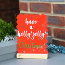 Holly Jolly Christmas merry Xmas 15x20cm A5 Acrylic SIGN home decor shop salon