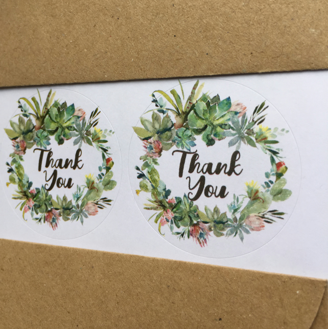 Cactus wreath THANK YOU circle stickers 37mm, 45mm wedding favour round labels