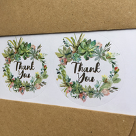 Cactus wreath THANK YOU circle stickers 35mm, 45mm wedding favour round labels