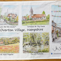 Overton Village Scenes 100% Cotton Tea Towel