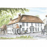 The White Hart Pub, Overton.  Open Edition Fine Art Print