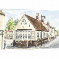 The Red Lion Pub, Overton.  Open Edition Fine Art Print