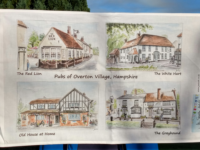 Pubs of Overton Village 100% Cotton Tea Towel