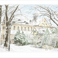 St Suitbertus in the Snow, Kaiserswerth, Germany - Limited Edition Giclée Print