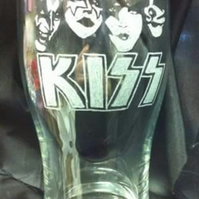 KISS Hand Engraved Pint Glass, Personalised for FREE, Happy To Try Any Band