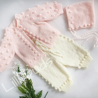 Knitting pattern. Meliza baby knitting pattern. Bobble cardigan